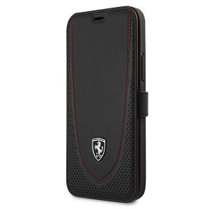 Ferrari iPhone 12 Pro Max Ledertasche Perforated schwarz FEOGOFLBKP12LBK