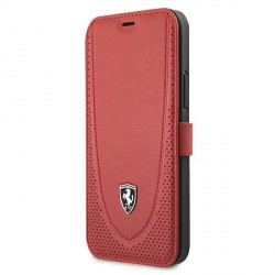 Ferrari iPhone 12 Pro Max Ledertasche Perforated Rot FEOGOFLBKP12LRE