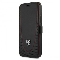 Ferrari iPhone 12 / 12 Pro Ledertasche Perforated schwarz FEOGOFLBKP12MBK