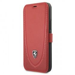 Ferrari iPhone 12 / 12 Pro Ledertasche Perforated Rot FEOGOFLBKP12MRE