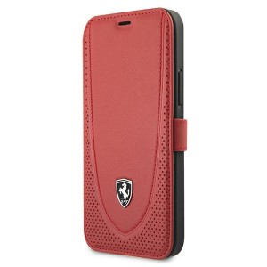 Ferrari iPhone 12 / 12 Pro Ledertasche Perforated Rot FEOGOFLBKP12MRE