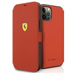 Ferrari Handytasche iPhone 12 Pro Max Perforiert Rot FESPEFLBKP12LRE