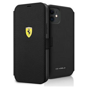 Ferrari Handytasche iPhone 12 mini Perforiert schwarz FESPEFLBKP12SBK
