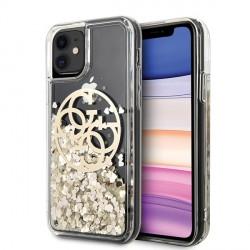 Guess iPhone 11 Hülle Circle Liquid Glitter Gold GUHCN61LGGITDGO