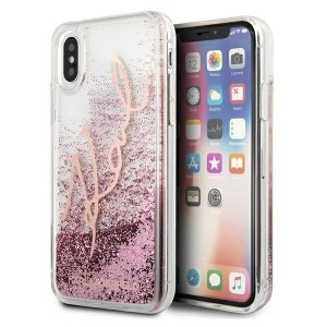 Karl Lagerfeld iPhone X / Xs Case / Hülle / Cover Glitter Signature rose gold KLHCPXTRKSRG