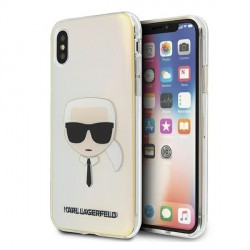 Karl Lagerfeld iPhone X / Xs Hülle / Cover / Case Multicolor Iridescent Karl`s Head KLHCPXPCKHML