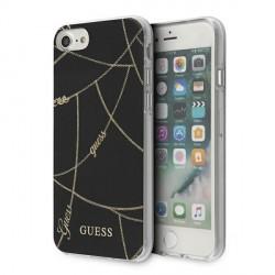 Guess iPhone 7 / 8 / SE 2020 Hülle Chain Gold schwarz GUHCI8PCUCHBK