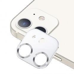 USAMS Kameraobjektiv Glas iPhone 12 Metall weiß