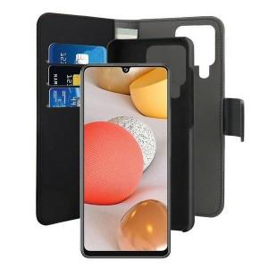 Puro Samsung A42 Wallet Book Tasche + Hülle 2in1 Schwarz