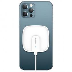 USAMS Qi Mag Safe Schnellladegerät magnetic 15W slim iPhone 12 series weiß