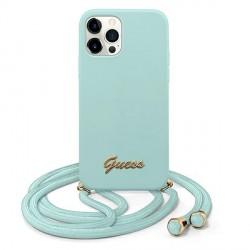 Guess iPhone 12 Pro Max Hülle Silikon Blau Leine GUHCP12LLSCLMGLB