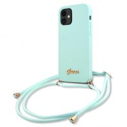 Guess iPhone 12 mini Hülle Silikon Blau Leine GUHCP12SLSCLMGLB