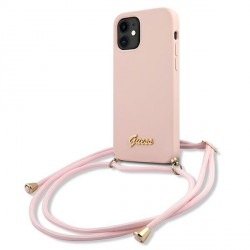 Guess iPhone 12 mini Hülle Silikon Rose Leine GUHCP12SLSCLMGLP