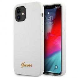 GUESS iPhone 12 mini Silikon Hülle Weiß Metal Logo Script GUHCP12SLSLMGWH