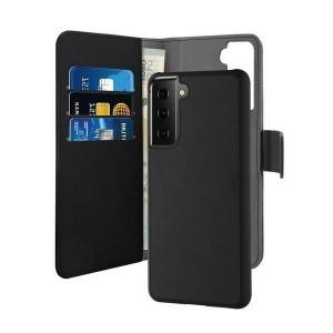 Puro Samsung S21 Wallet Book Tasche + Hülle 2in1 Schwarz