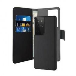 Puro Samsung S21 Ultra Wallet Book Tasche + Hülle 2in1 Schwarz