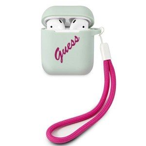 Guess AirPods 1 / 2 Silikon Hülle Case Cover blau GUACA2LSVSBF