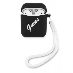 Guess AirPods 1 / 2 Cover / Case / Hülle schwarz Vintage GUACA2LSVSBW