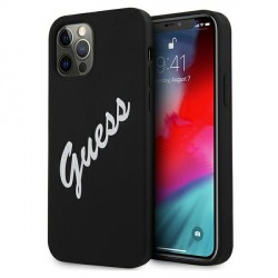 Guess iPhone 12 Pro Max Hülle / Case / Cover Silikon Script Vintage schwarz GUHCP12LLSVSBW