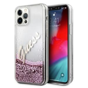 Guess iPhone 12 / 12 Pro Hülle / Case / Cover Glitter Vintage Script Rose Gold GUHCP12MGLVSPI