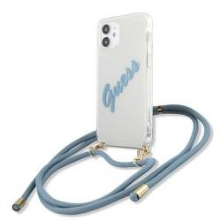 Guess iPhone 12 mini Hülle / Case / Cover Transparent Kordel Vintage GUHCP12SCRTVSBL
