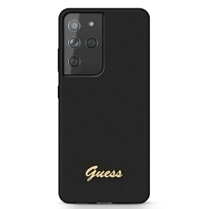 GUESS Samsung S21 Ultra Silikon Hülle / Case / Cover Schwarz GUHCS21LLSLMGBK