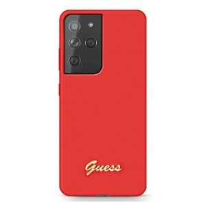 GUESS Samsung S21 Ultra Silikon Hülle / Case / Cover Rot GUHCS21LLSLMGRE