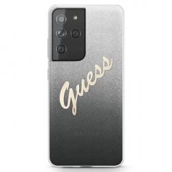 Guess Samsung S21 Ultra Hülle Glitter Gradient Script Schwarz GUHCS21LPCUGLSBK