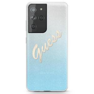 Guess Samsung S21 Ultra Hülle Glitter Gradient Script Blau GUHCS21LPCUGLSBL