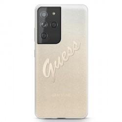 Guess Samsung S21 Ultra Hülle Glitter Gradient Script Gold GUHCS21LPCUGLSGO