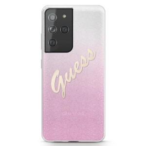 Guess Samsung S21 Ultra Hülle Glitter Gradient Script Pink GUHCS21LPCUGLSPI