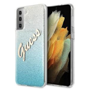 Guess Samsung S21+ Plus Hülle Glitter Gradient Script Blau GUHCS21MPCUGLSBL