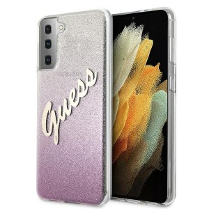 Guess Samsung S21+ Plus Hülle Glitter Gradient Script Pink GUHCS21MPCUGLSPI