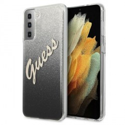 Guess Samsung S21 Hülle Glitter Gradient Script Schwarz GUHCS21SPCUGLSBK