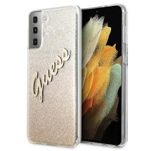 Guess Samsung S21 Hülle Glitter Gradient Script Gold GUHCS21SPCUGLSGO