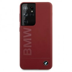 BMW Samsung S21 Ultra Silikon Signature Logo Hülle / Cover Rot BMHCS21LSLBLRE