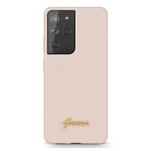 GUESS Samsung S21 Ultra Silikon Hülle / Case pink Script GUHCS21LLSLMGLP