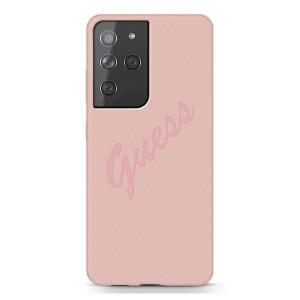 GUESS Samsung S21 Ultra Silikon Script Vintage Hülle / Case pink GUHCS21LLSVSPI