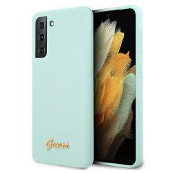 GUESS Samsung S21+ Plus Silikon Hülle / Case blau Script GUHCS21MLSLMGLB