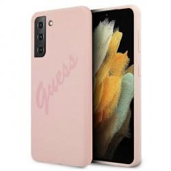 GUESS Samsung S21+ Plus Silikon Script Vintage Hülle / Case pink GUHCS21MLSVSPI