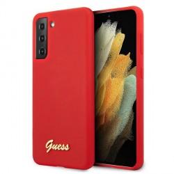GUESS Samsung S21+ Plus Silikon Hülle / Case Rot Script GUHCS21SLSLMGRE