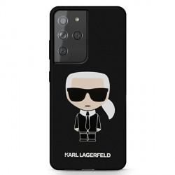 Karl Lagerfeld Samsung s21 Ultra Hülle Silikon Iconic schwarz KLHCS21LSLFKBK