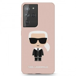 Karl Lagerfeld Samsung S21 Ultra Hülle Silikon Iconic Rose / Pink KLHCS21LSLFKPI