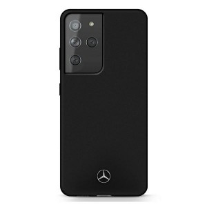 Mercedes Samsung S21 Ultra Silicone Line Hülle / Cover / Case schwarz MEHCS21LSILBK