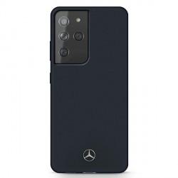 Mercedes Samsung S21 Ultra Silicone Line Hülle / Cover / Case blau MEHCS21LSILNA