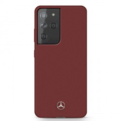 Mercedes Samsung S21 Ultra Silicone Line Hülle / Cover / Case rot MEHCS21LSILRE
