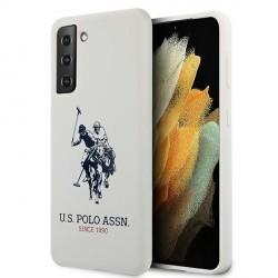 US Polo Samsung S21 Silikon Logo Hülle weiß USHCS21SSLHRWH