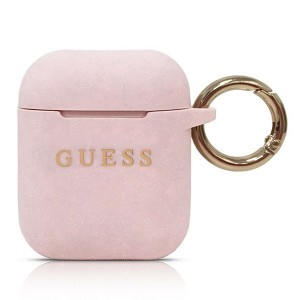 Guess Airpods 1 / 2 Silicon Glitter Cover Hülle Tasche Case Rose GUACCSILGLLP