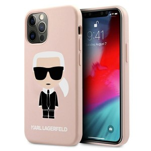 Karl Lagerfeld iPhone 12 / 12 Pro Hülle / Case / Cover Silicone Iconic rose KLHCP12MSLFKPI