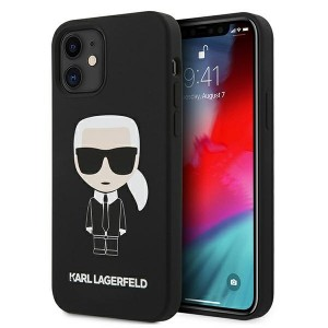Karl Lagerfeld iPhone 12 mini Hülle / Case / Cover Silicone Iconic Schwarz KLHCP12SSLFKBK